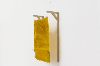 Wall Structure_ Yellow - Resin and Pigmen and wood - 40x 15x8cm