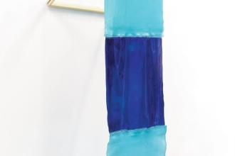 Wall Structure_Phthalocyanine Turquoise - Resin, pigment, wood and window frame - 150 x 25 x 30cm